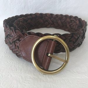 Loft Brown Braided Leather Belt Gold Buckle